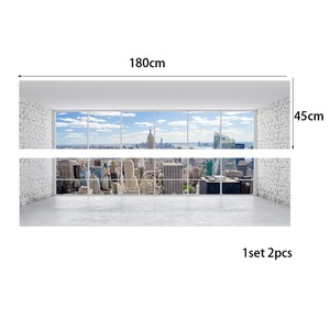 Image 5 - City Building Scene Wall Sticker Bed Head Stickers Wall Sticker For Dorm Room Bedroom Home Decor