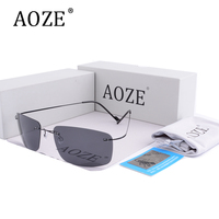 2017 AOZE Luxury Brands HD Polarized Men Driver Sunglasses Ultra Light Titanium Alloy Top Quality Goggles