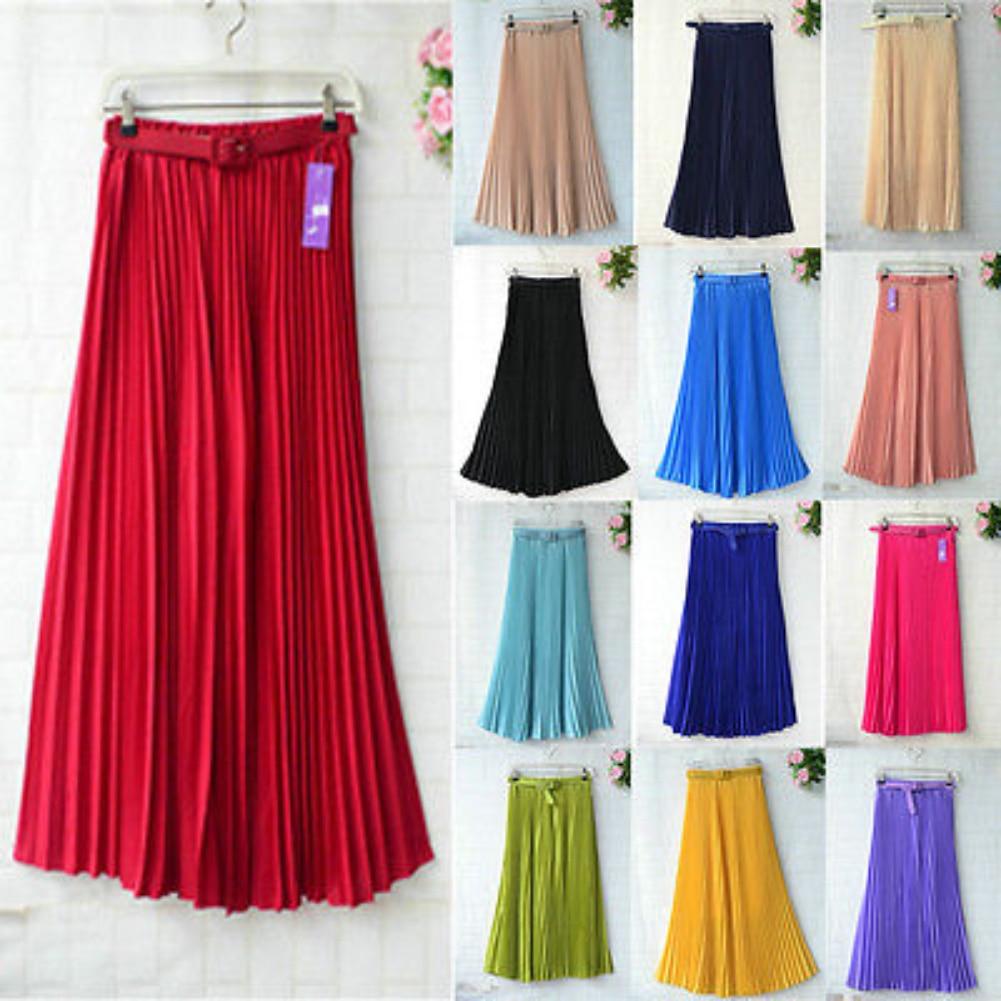 Womens Skirt Belt High Waist Solid Color Retro Maxi Chiffon Pleated Elegant Long Skirt Summer Skirt Womens 2019 New 13 Styles