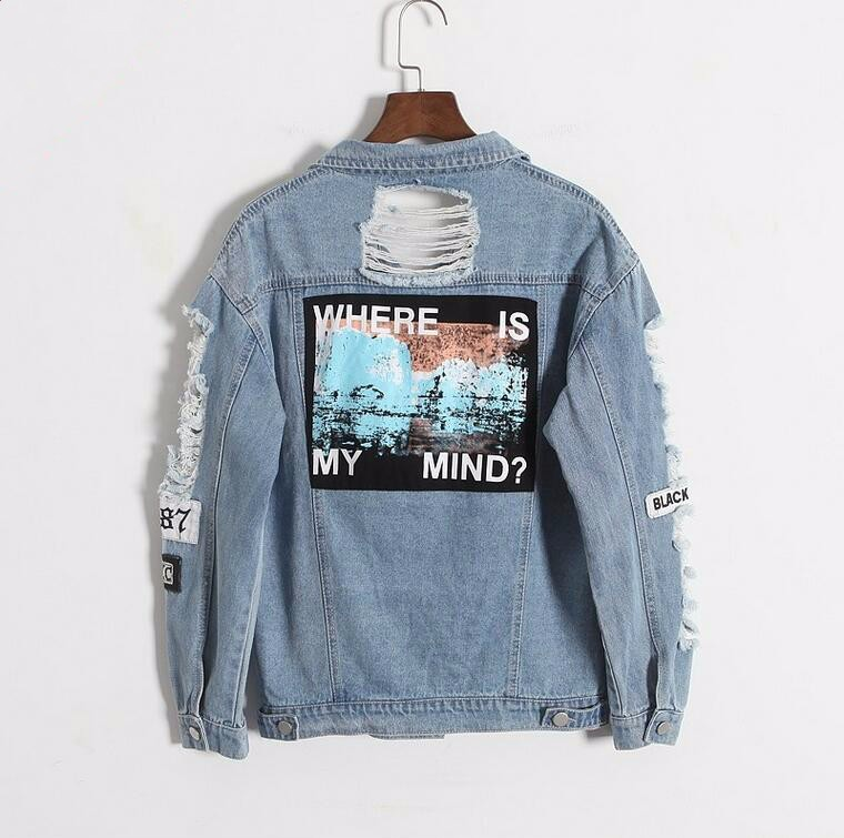 Where is my mind? Korea Kpop retro frayed embroidery letter patch women's denim bomber jacket Ripped Distressed Blue Coat Female 3