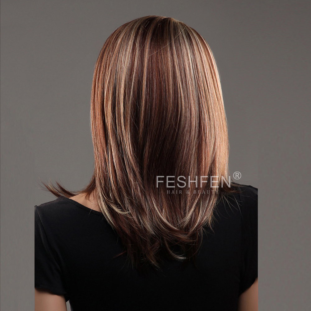 Feshfen Middle Parting Medium Long Straight Piano Color Hair Wig
