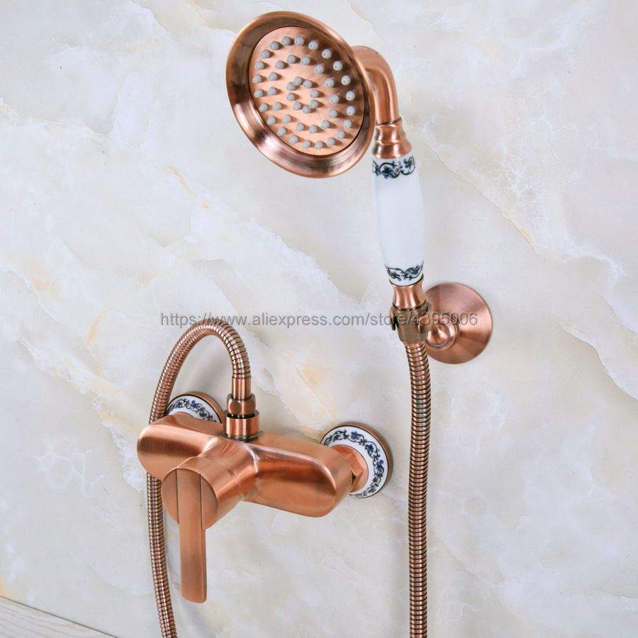Antique Red Copper Wall Mounted Bathroom Bathtub Shower Faucet Set Mixer Tap With Hand Shower set Bna288Antique Red Copper Wall Mounted Bathroom Bathtub Shower Faucet Set Mixer Tap With Hand Shower set Bna288