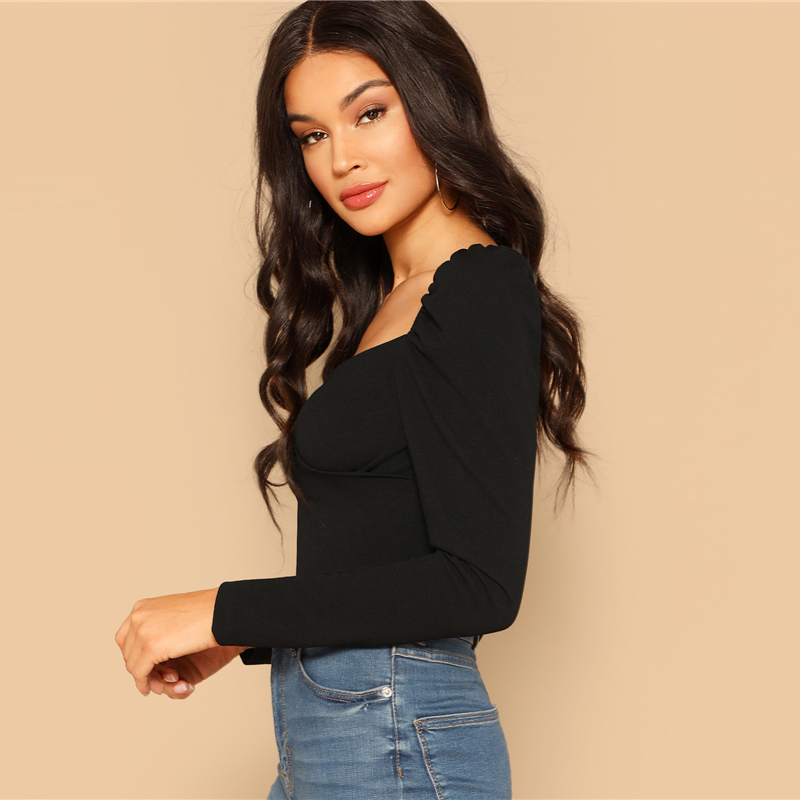 COLROVIE Black Solid Zip Back Fitted Wrap Sweetheart Elegant Blouses Women 19 Spring Long Sleeve Shirt Sexy Office Ladies Tops 8