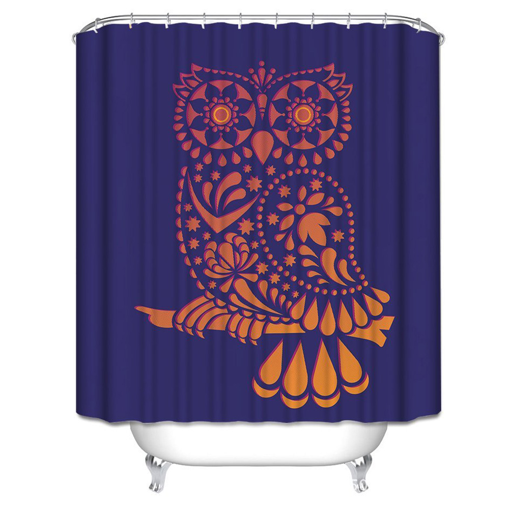 Custom Unique Design Cartoon Art Owl Waterproof Fabric Shower Curtain, 72 by 66-Inch