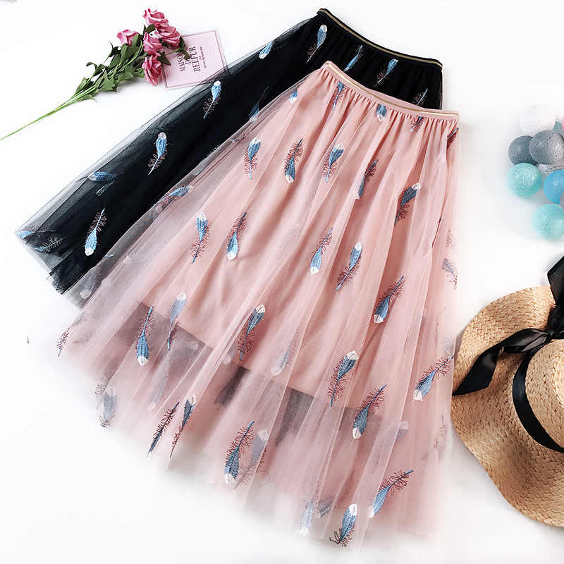 Tulle Skirts Women Embroidery Feather Pleated Skirt Sweet pink Elastic High Waist long Skirt  A-line Solid Skirt Jupe Saias fald