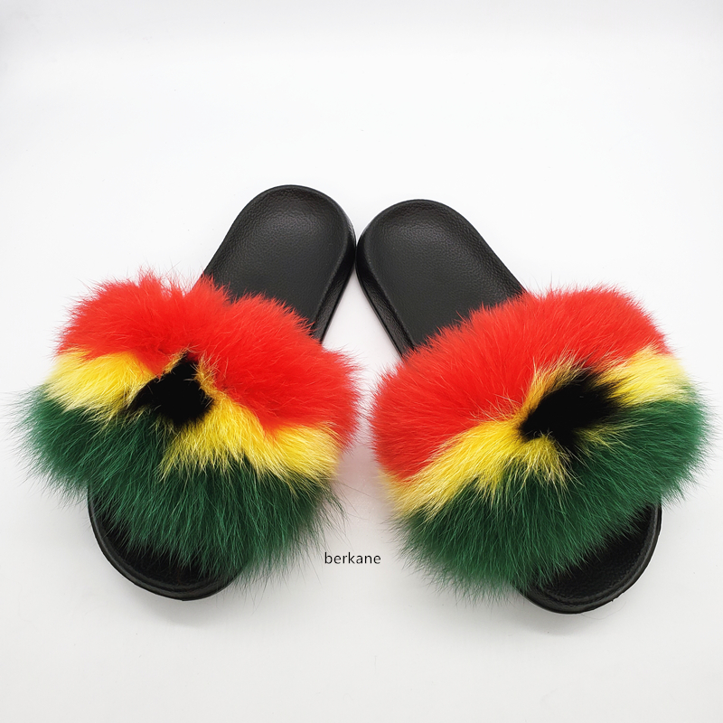 Natural Fox Hair Slippers Women Fur Raccoon South Africa Fluffy Sliders Jamaica Furry Summer Sweet Ladies Shoes Nigeria Ghana