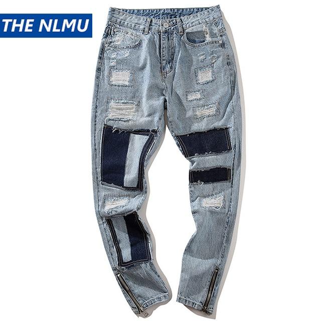 Primavera Retro Afligido Jeans Rasgado Buraco Denim Calças Dos Homens Hip Hop Steetwear Moda Mendigo Calças de Patch Calças WJ185