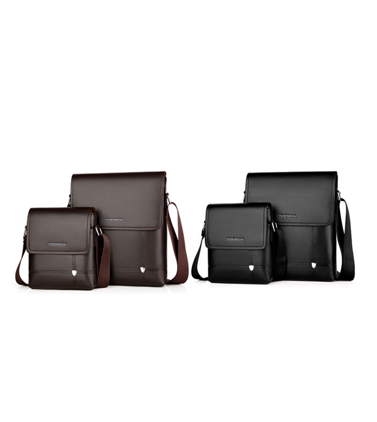 New Business Travel Men's PU Solid Color Large Capacity Messenger Bag Classic Design High Quality