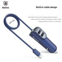 BASEUS Marka Energii Stacji 5.5A Podwójna Ładowarka Samochodowa USB Adapter Z bulit w 8 pin kabel do iphone 7 plus 6 s/samsung uniwersalny