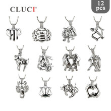 CLUCI 12pcs/set 12 Signs Constellation Zodiac Charms Cage Pendant Pearl Lockets Jewelry for Women Necklace making MPC016SB