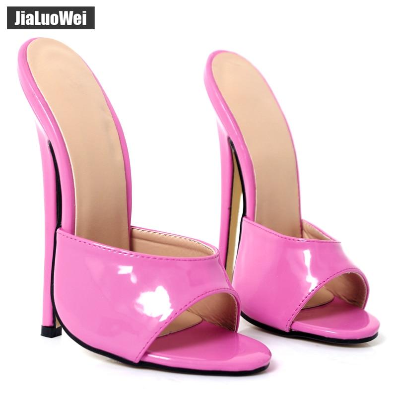2019 Summer Woman 18cm Thin Ultra High Heels Slipper Fetish Nightclub Women Sandals High Heeled Sexy Beach Shoes plus size 36-46