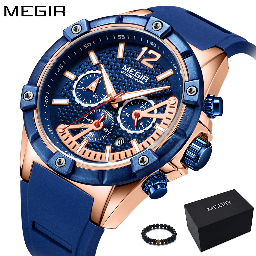 MEGIR 2018 Fashion Mens Watches Top Brand Luxury Quartz Wrist Watch Blue Silicone Gold Big Dial Watch Men Waterproof Sport Clock цена