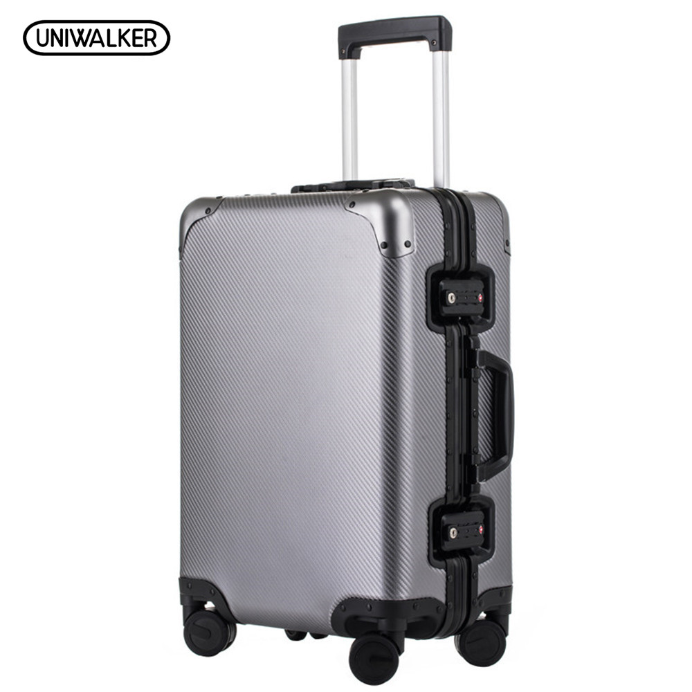 UNIWALKER 2024 Rolling Luggage 100% Aluminum Unisex Travel Trolley Suitcase Spinner Wheels TSA Password Locks Carry on Bag