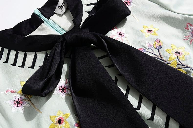 Robes Arc Courtes Pour Femme Élégantes Slim Broderie Manches Col Goodlishowsi Floral Robe wqAHR7nv76