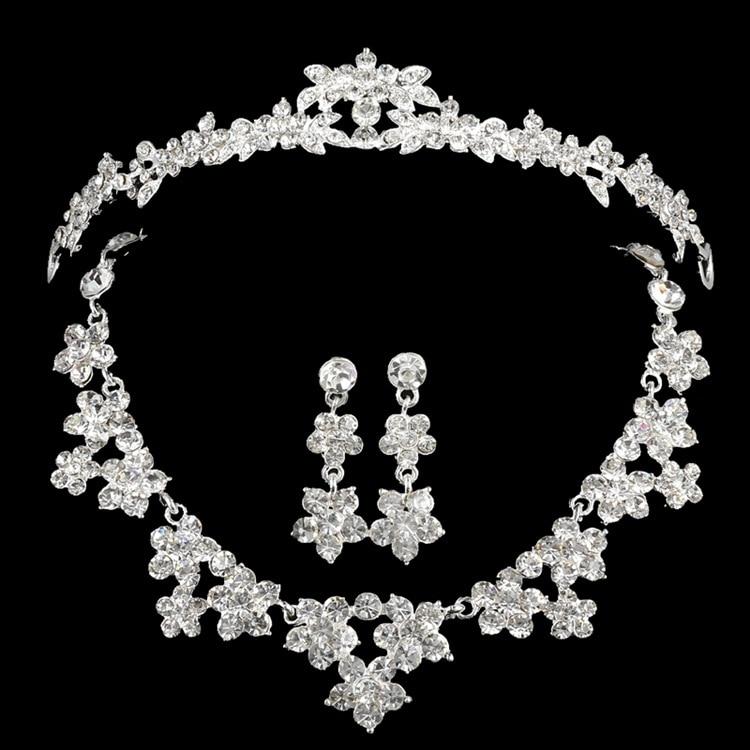 Clásico de cuatro Row piedras aretes collar de plata corona nupcial de la boda j