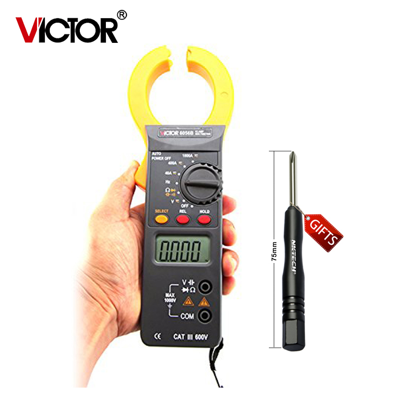 Professional Victor Digital Clamp Multimeters Auto Range Capacitance 1000V 1000A Clamp Meter Ammeter Voltmeter VC6056B vc99 auto range 3 6 7 digital multimeter 20a resistance capacitance meter voltmeter ammeter alligator probe thermal couple tk