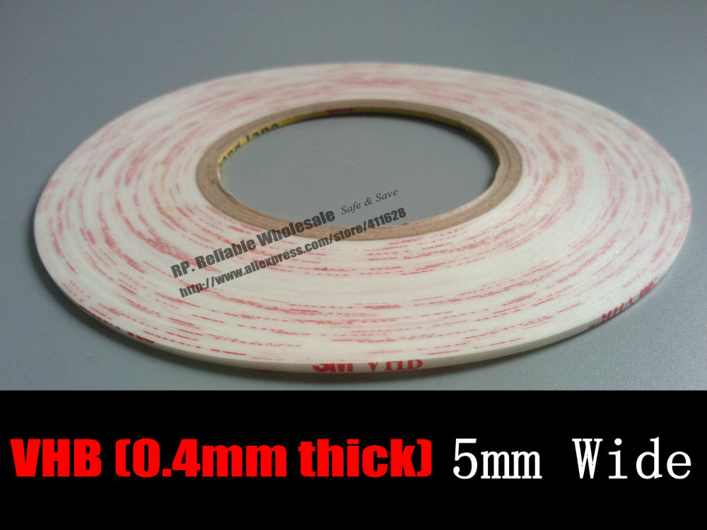 (0.4mm Thick), 5mm*33M Strong VHB White Two Adhesive Foam SpongeTape for Phone Screen, Truck, Car Panel Plate Bond Repair