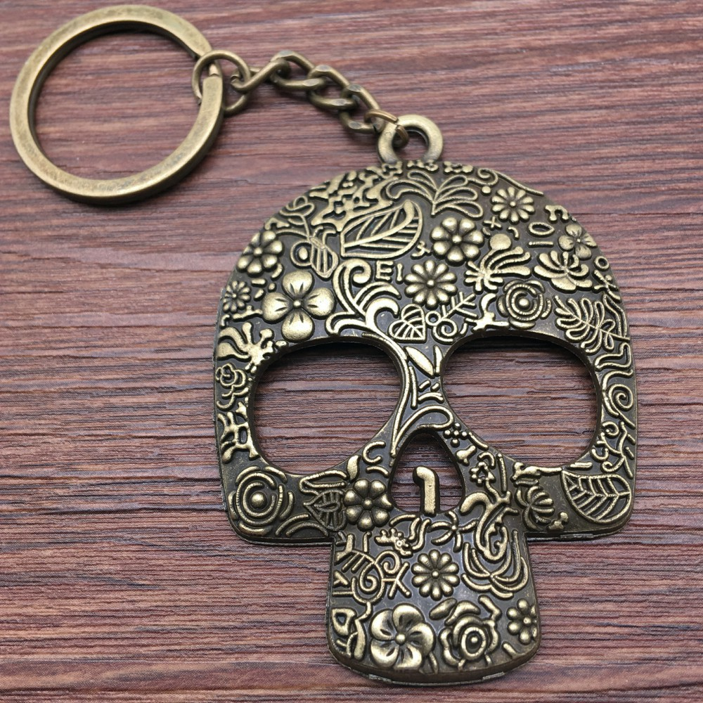 Keyring Big Skull Keychain 66x49mm Antique Bronze New Fashion Handmade Metal KeyChain Souvenir Gifts For Women A10841