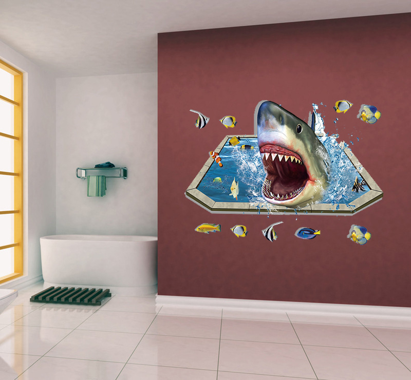 Removable Creative 3D Effect Shark Vinyl Decals for Bathroom Kids Bedroom Floor Decor Self Adhesive Mural Wall Sticker Art