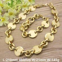 CALIENTE de la Joyería de moda de Acero Inoxidable chapado en oro y color plata Collar Pulsera establece para las mujeres SFXAEBDG