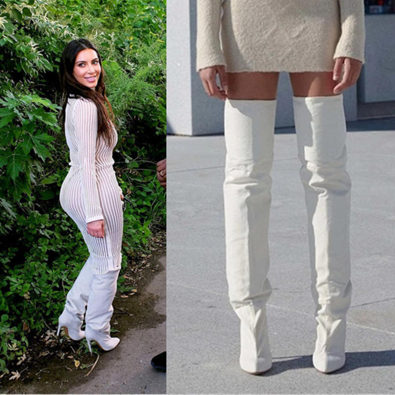 2017 New Pre-order Thigh High Boots Pointed Toe Shoes Woman Kim Kardashian Style Stiletto High Heels Motorcycle Long Woman Boots