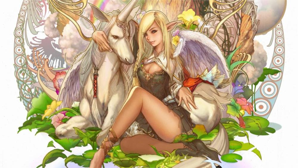 games art girl elf elf unicorn Lineage fantasy Canvas Poster Print modern paintings for Home Decor Living Room Wall Art