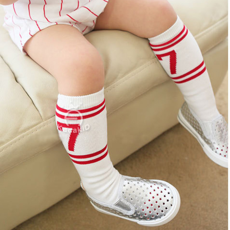 baby girls pretty socks kids sports tube socks children handsome figure number NO. 7 fashion cotton socks casual Spring Sox