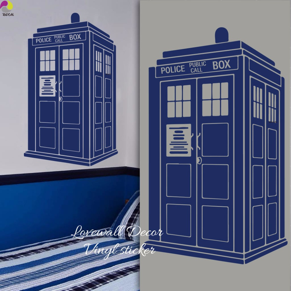 tardis wall sticker kids room baby nursery doctor who style wall decal living room police box. Black Bedroom Furniture Sets. Home Design Ideas