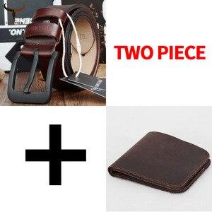 Image 1 - Cinto e carteira conjunto COWATHER para homens top quality bolsa vaca genuína cinta masculina terno dos homens da moda cinto e carteira definir frete grátis