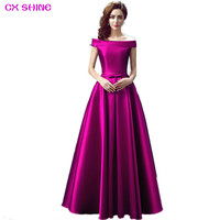 CX SHINE Custom Color Size Fuchsia Gold Boat Neck Blue Long Evening Dress Pocket Party Dresses