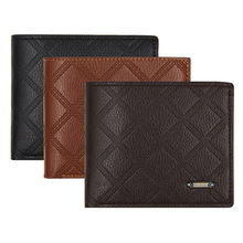 High Quality minimalist short slim men wallets zipper coin pocket pu leather thin money card purse embossed trifold small clutch