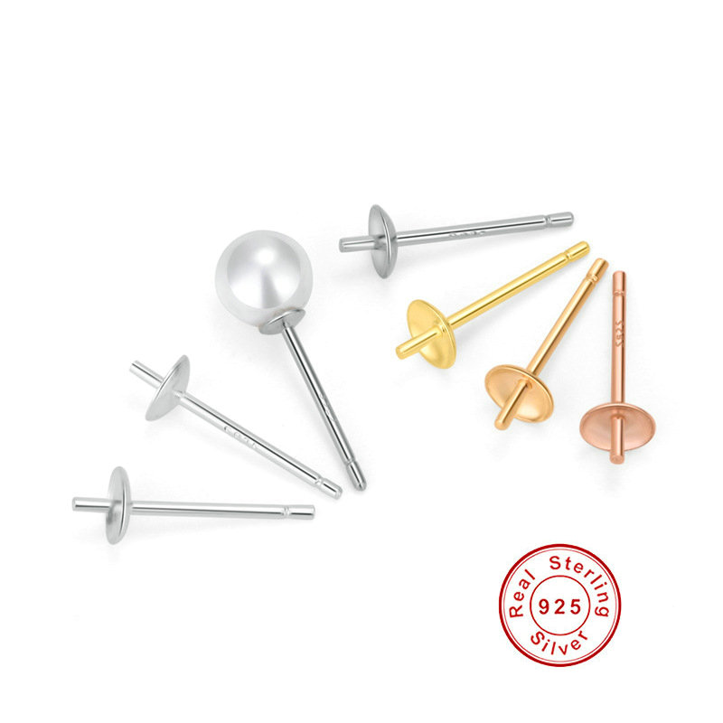 925 Sterling Silver Pearl Earring Setting Base Diy Ear Studs Making Fine Jewelry Accessories Findings Components in Jewelry Findings Components from Jewelry Accessories
