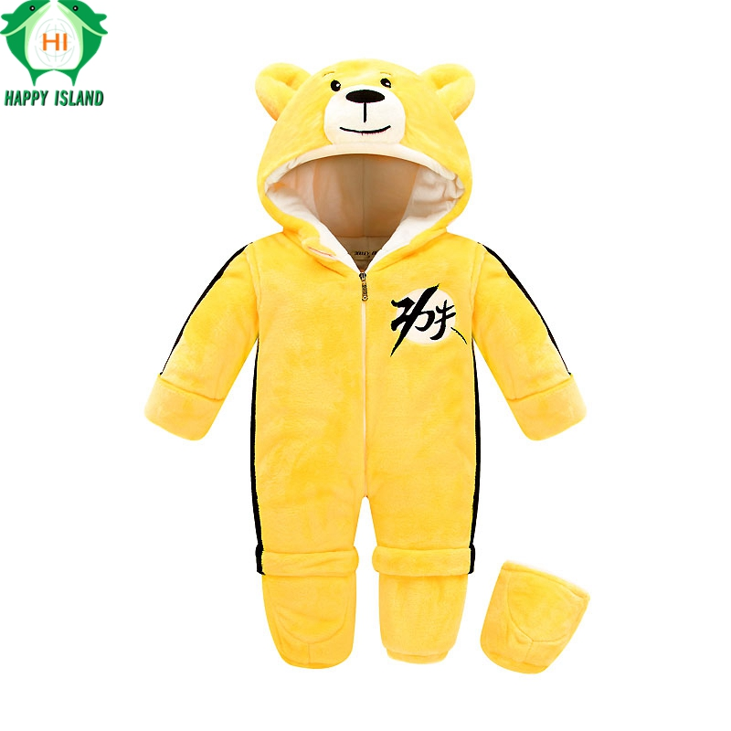 HAPPY ISLAND Cotton Baby Rompers Winter Thick Boys Costume Girls Warm Infant Snowsuit Kid Jumpsuit Children Outerwear Baby Wear little devil baby rompers winter boys costume girls warm infant snowsuit kid jumpsuit children outerwear newborn baby clothing