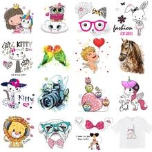 Unicorn Iron Patch Heat Transfer Sticker Boy Girl Clothes Fashion Diy Animals T-shirt Vinyl Applique Stripes Dress E