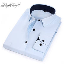 DAVYDAISY New Man Shirts High Quality Long Sleeve Solid Striped Twill Male