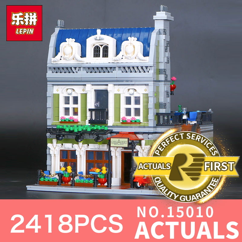 Lepin 15010 2418Pcs Creator Series Expert City Street Parisian Restaurant Model Building Blocks Bricks 10243 Educational Toys dhl new 2418pcs lepin 15010 city street parisian restaurant model building blocks bricks intelligence toys compatible with 10243