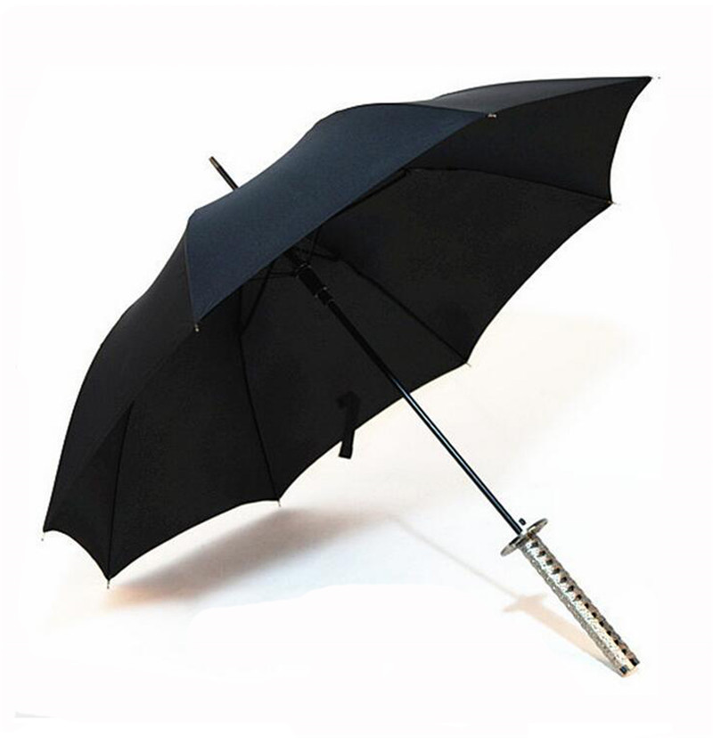 Creative Windproof Waterproof Japanese Samurai Ninja Katana Umbrella Sun Rain Golf Umbrellas Black with Sliver/Gold/Black Handle