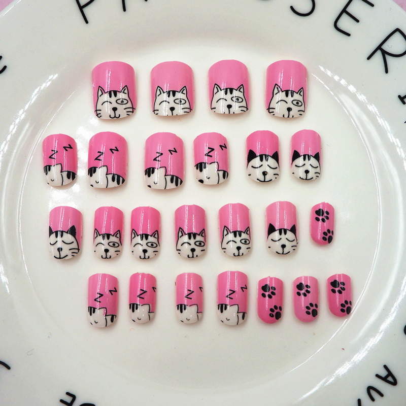 Press on Short Fake Nail Tips Girl Kids Cartoon 24pcs Full Cover ...