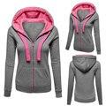 Moletom com capuz mulheres de inverno engrossar casaco de lã quente longo casaco de moletom com capuz zip-up hoodies outerwear jaqueta 3 cores com bolso dm #6