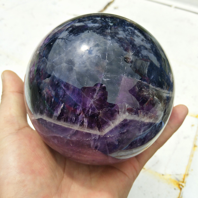 100mm diameter 100 natural fantasy amethyst crystal ball healing feng shui pieces wholesale free shipping
