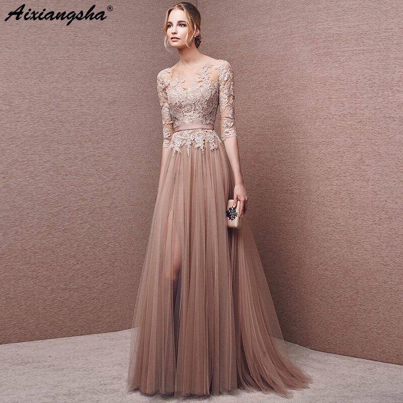 Champagne Lace Long Prom Dresses 2018 Scoop Three Quarter Sleeves Floor-Length prom dresses long vestido longo short prom dress