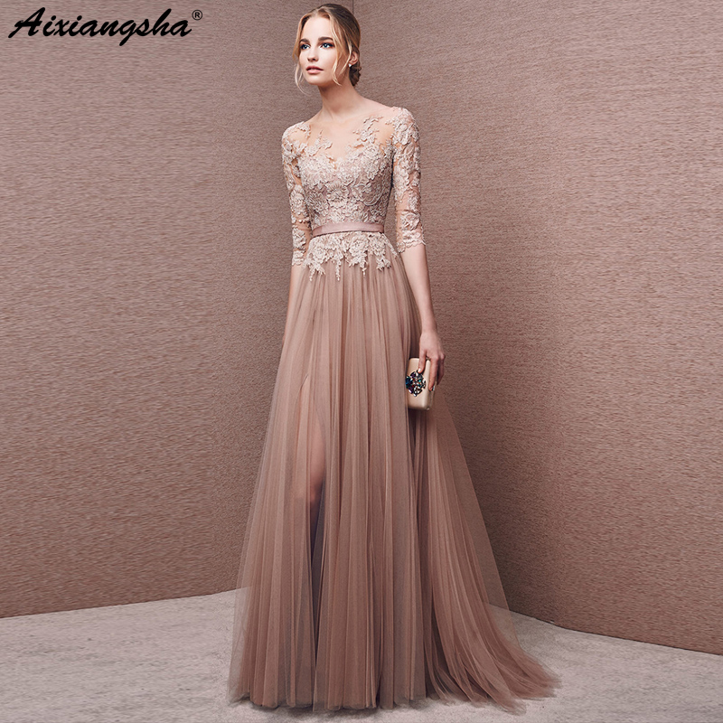 Champagne Lace Long   Prom     Dresses   2018 Scoop Three Quarter Sleeves Floor-Length   prom     dresses   long vestido longo short   prom     dress