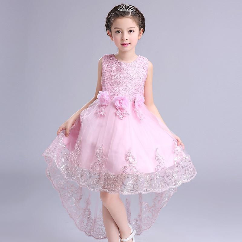 2017 Flower Girls Princess Party Dress Kids High Low Wedding Dress Children White Sleeveless Sequins Long Tail Girl Lace Dresses