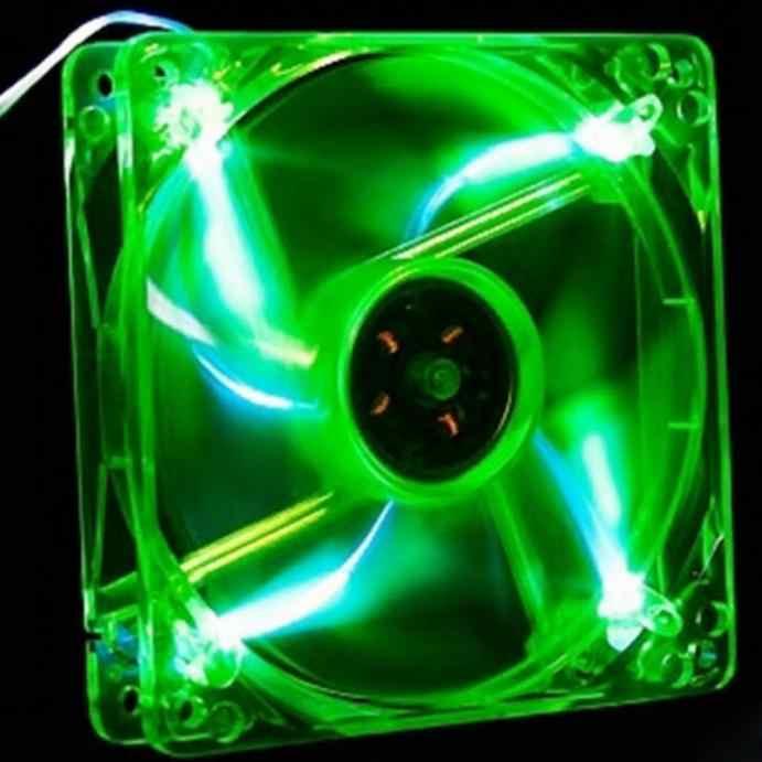 BINMER CPU del dispositivo di Raffreddamento Ventola Di Raffreddamento 120 millimetri Verde Quad 4-LED Luce Al Neon Trasparente del PC Case Del Computer Ventola Di Raffreddamento mod PC Ventola del Dissipatore di calore NUOVO L0429