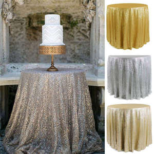 Embroidered Table cloth Sequins Round Tablecloth Rose Gold