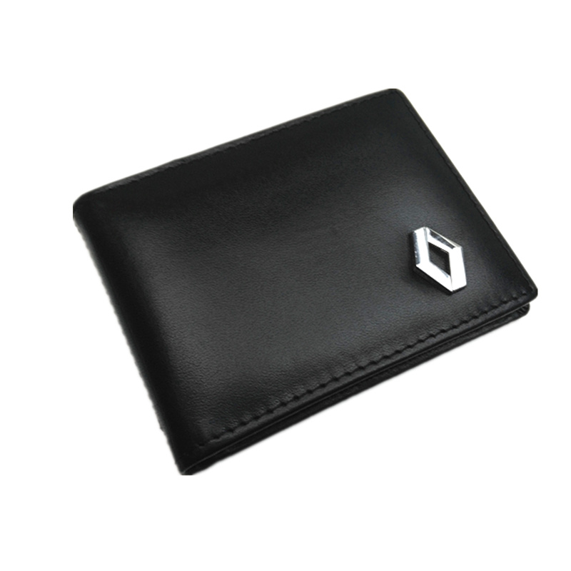 Car Styling Badge Men Wallet Driving License Credit Card Holders Genuine Leather For renault megane 2 duster logan clio laguna 2
