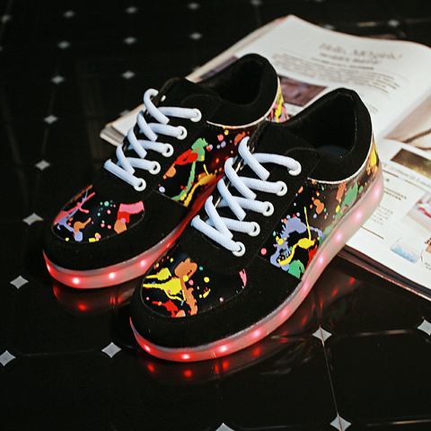unisex criancas menino menina graffiti led sapato