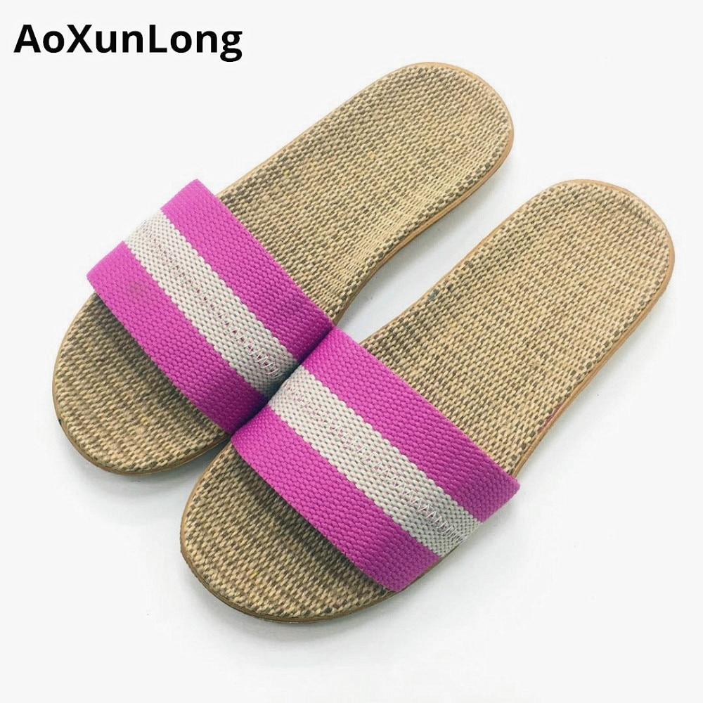 Poletne lanene copate dihajoče udobne domače copate drsne nedrseče - Ženski čevlji