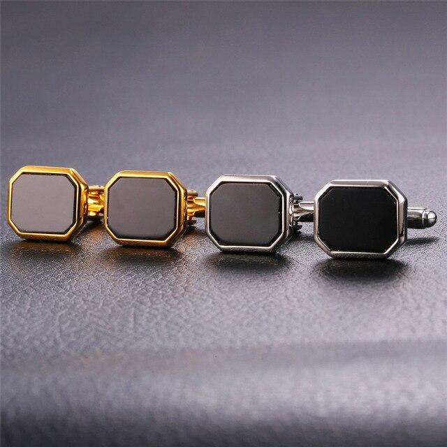 Classic Design Business Cufflink Black Gold