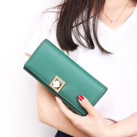 New Style Fashion Solid Color Genuine Leather Long Wallet Woman Party Clutch Bag Soft Cow Leather